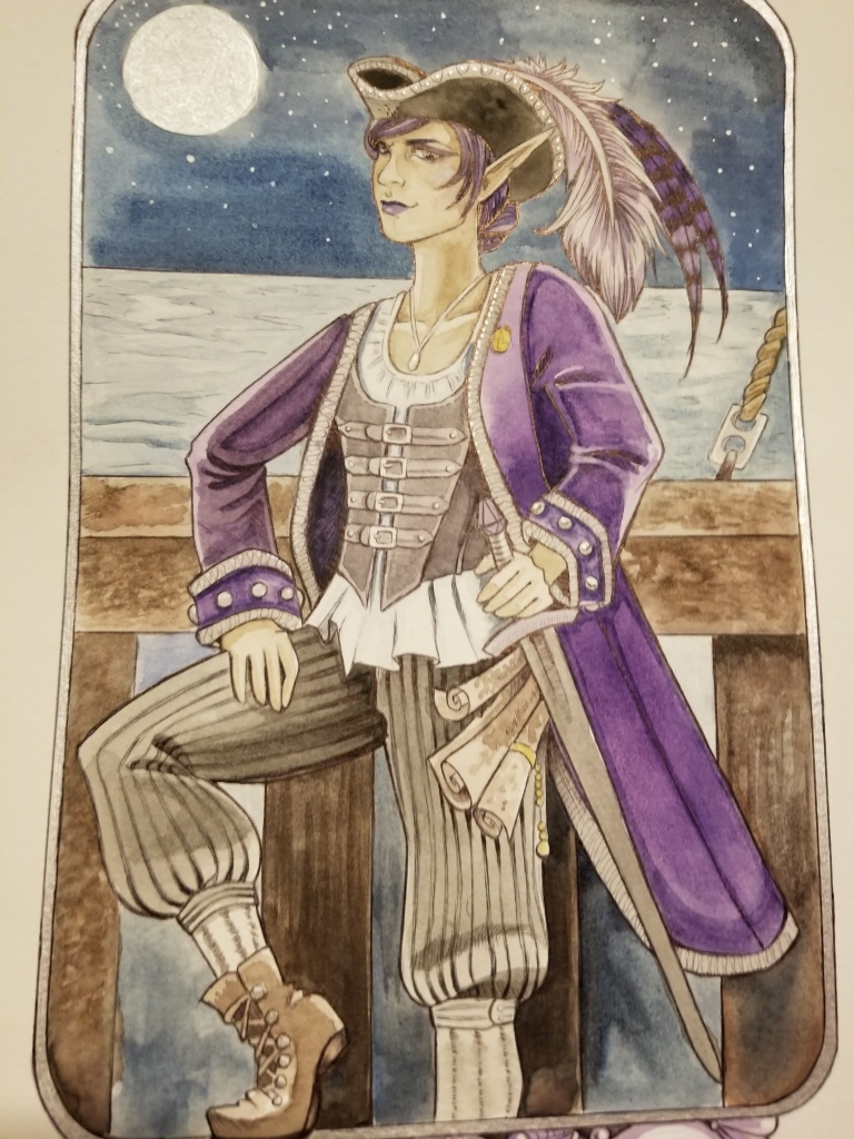 an elf with pointy ears dressed in a pirate hat and purple coat