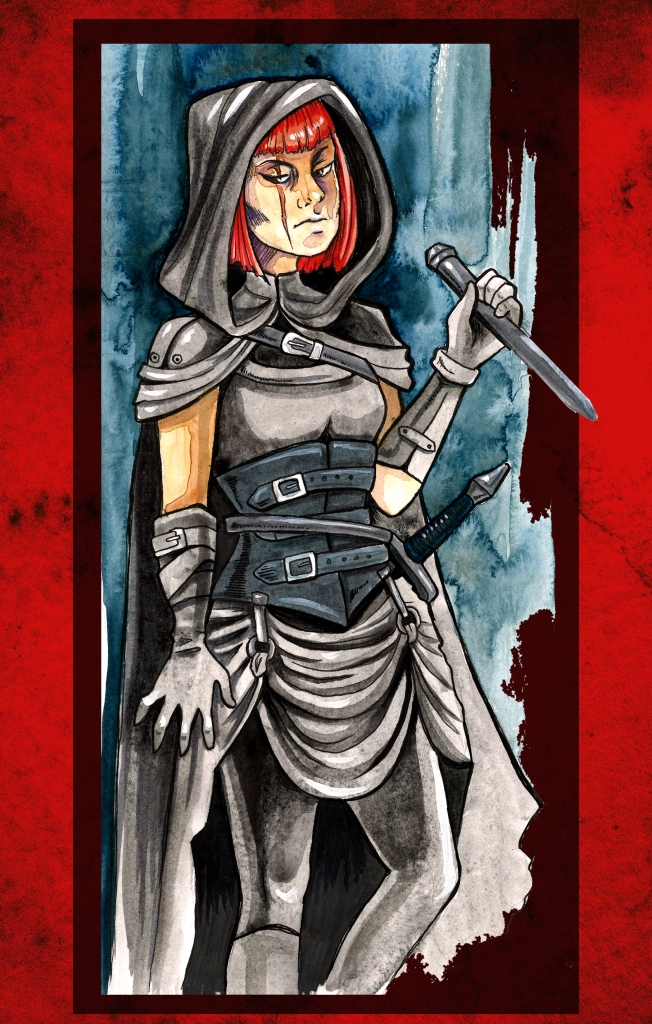 a red-headed figure with a facial scar, wearing all black, including a hood, an carrying a daggar