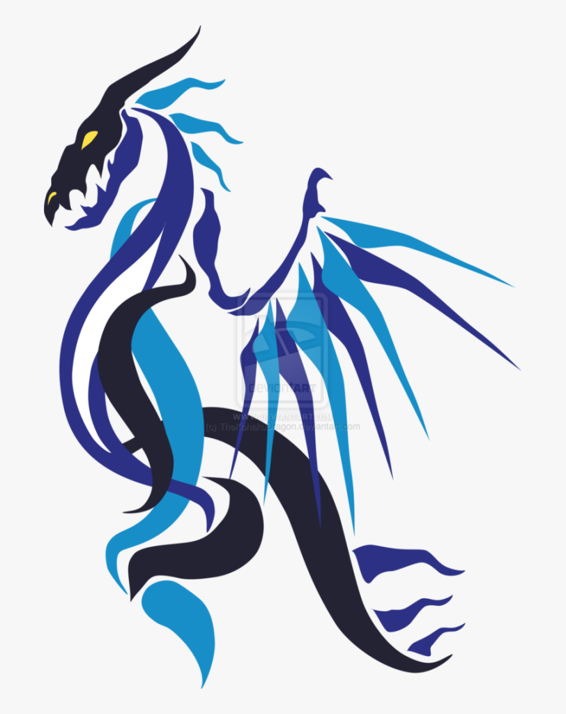 an abstract drawing of a blue dragon