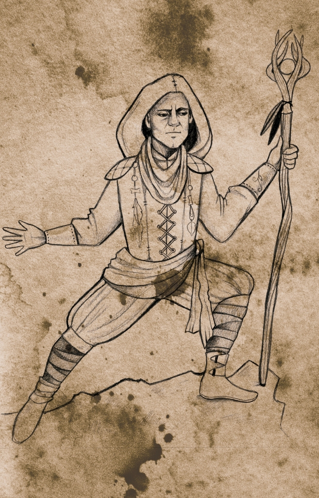 a human in fantasy clothes, including a hood, holding a wooden staff