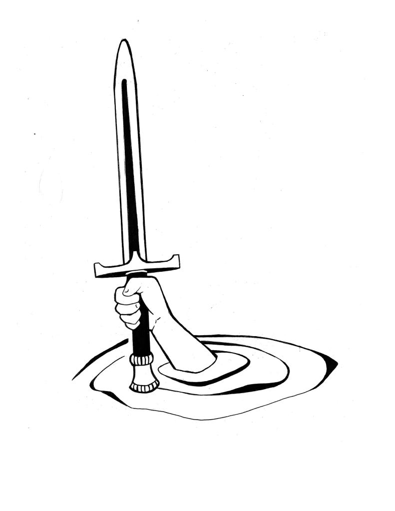 a hand rising from a pool of water holding aloft a sword
