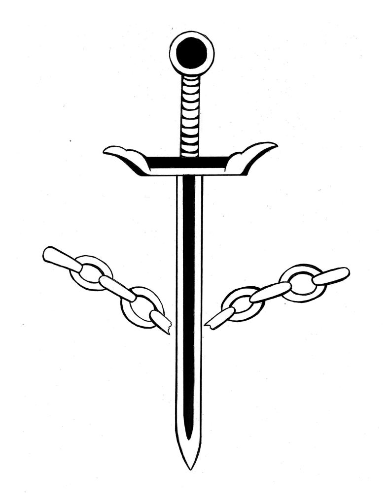 a sword breaking an outstretched chain