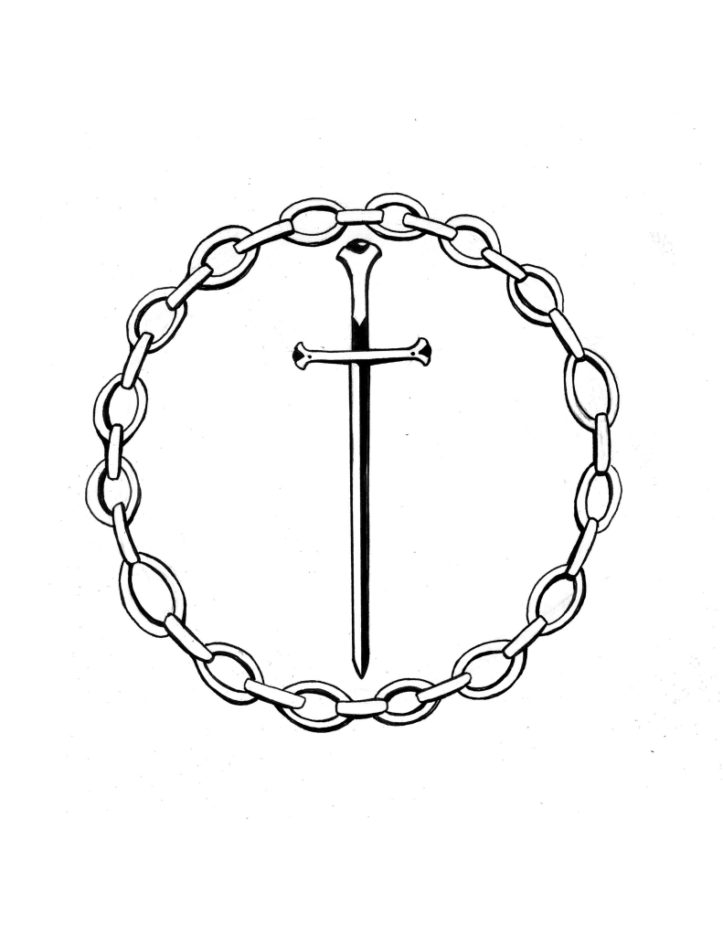 a sword encircled by a chain
