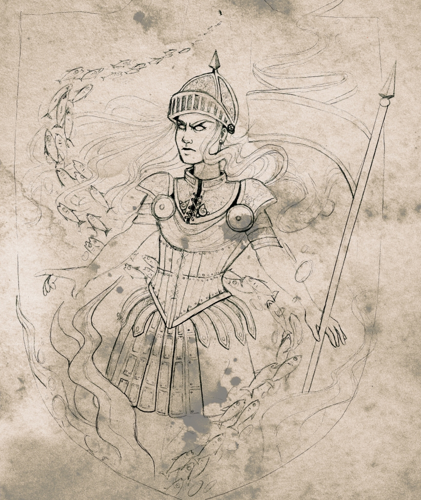 a long-haired figure wearing elaborate armor and a skirt and holding a spear. Water with fish swirl around them