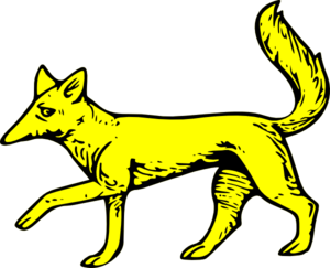 a drawing of a golden fox