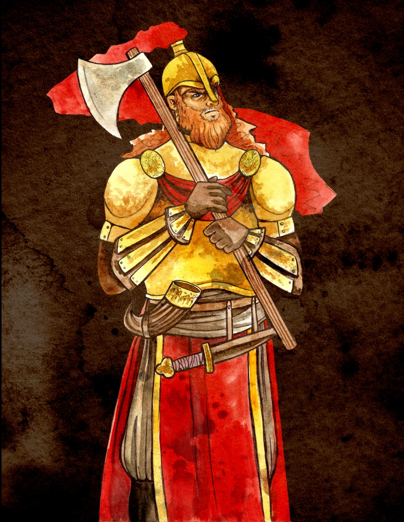 a bearded figure in red and gold armor, holding an axe