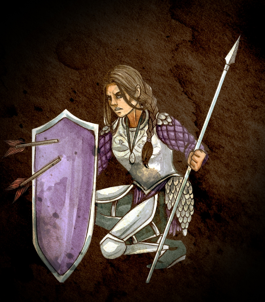 a female knight holding a spear and defending herself from arrows with a shield