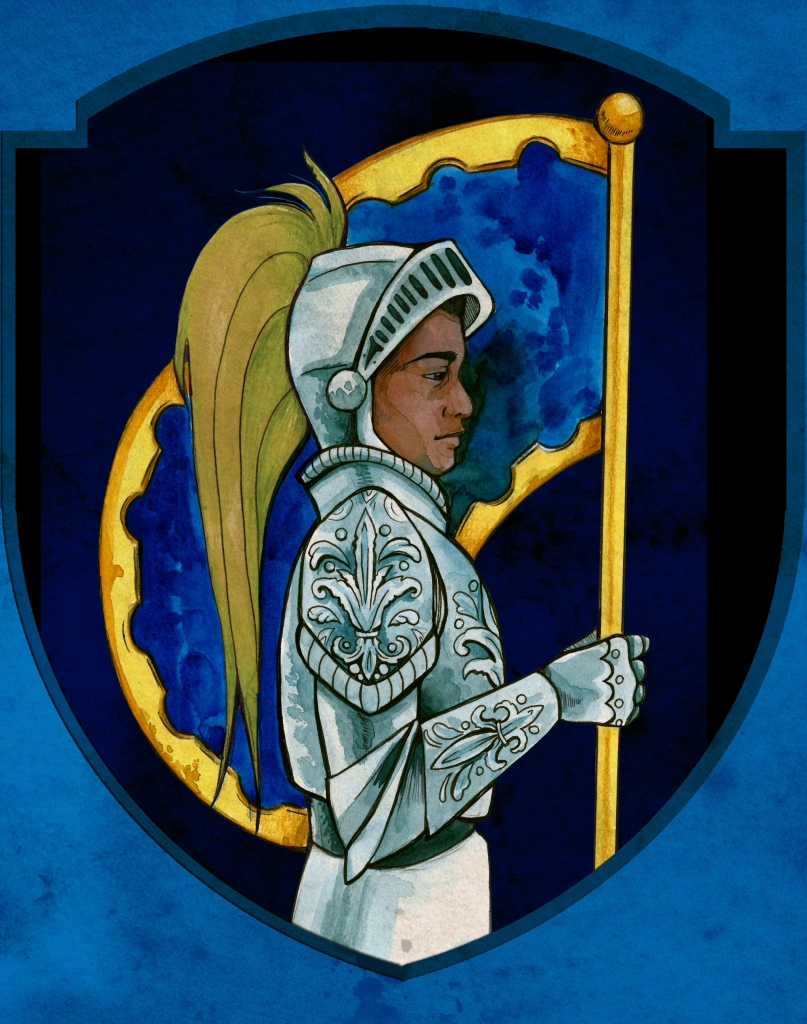 a black knight in silver armor holding a blue and gold banner