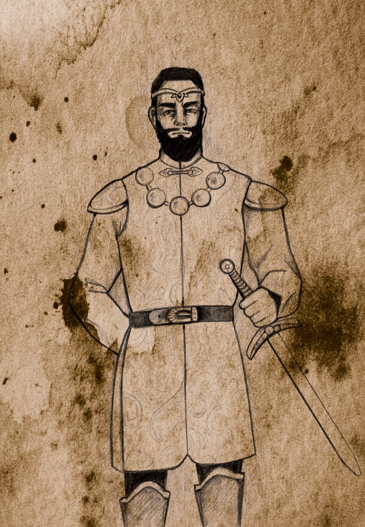a bearded man wearing a circlet, elaborate necklace, and tunic, holding a sword