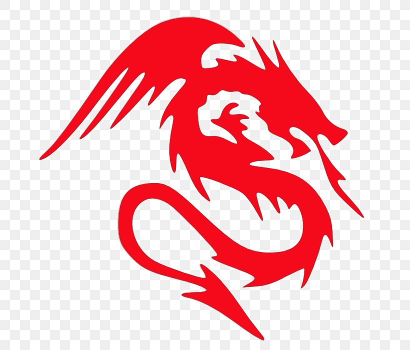 A red silhouette of a dragon