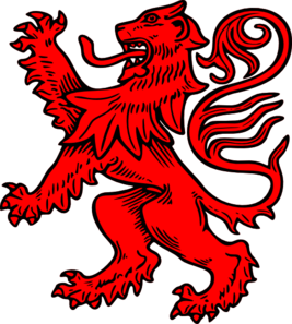 an abstract red lion like you might find in medieval heraldry