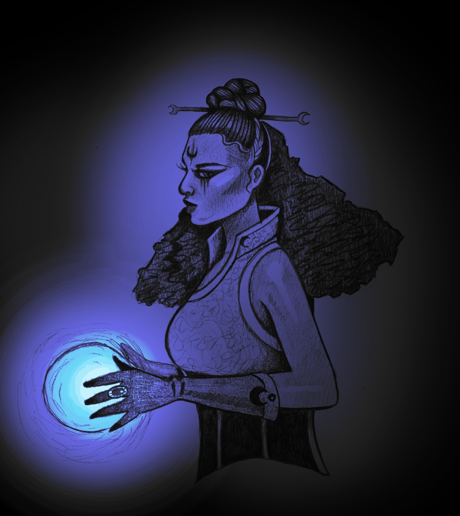a witch with long hair and elaborate makeup holding a glowing orb